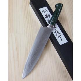 Cuchillo Japonés Gyuto - TAKESHI SAJI - Acero Damasco VG10 -green micarta- Tam: 18/21cm