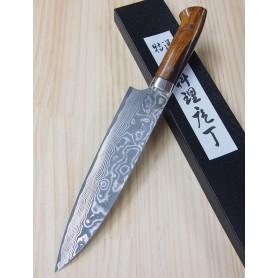 Faca do chef gyuto TAKESHI SAJI -Aço niquel damascus - VG10 -ironwood - Tam: 21cm