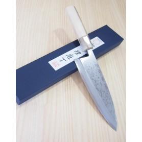 Cuchillo Japonés Deba - MIURA - Serie Bessaku - Blue Steel Damasco - Tam: 15 / 18cm