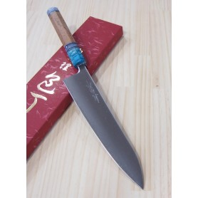 Faca japonesa do chef gyuto YOSHIHIRO -Série super blue steel cabo customizado- Tam:24cm
