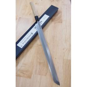 Faca japonesa sakimaru takobiki MASAMOTO SOHONTEN honkasumi white steel Tam:33cm